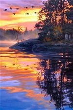 Painting, twilight scenery, lake, birds, sunset iPhone wallpaper