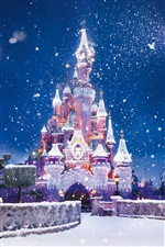 The Disney castle, snow flying iPhone wallpaper