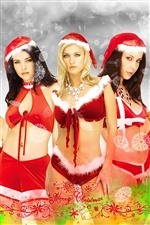 Three Christmas girls iPhone wallpaper