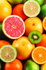 Very delicious fruit, oranges and kiwi fruit iPhone wallpaper