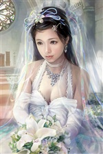 White wedding dress fantasy girl iPhone wallpaper