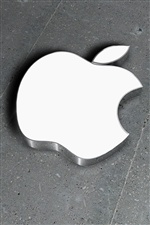 3D metal white Apple iPhone wallpaper