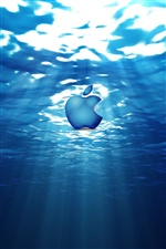 Apple in blue water iPhone wallpaper