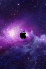 Apple in purple space, stars iPhone wallpaper