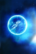 Beautiful blue planet in the space iPhone wallpaper