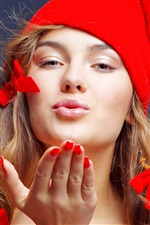 Christmas girl flying kiss iPhone wallpaper