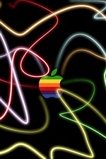Colorful Apple at colorful lights iPhone wallpaper