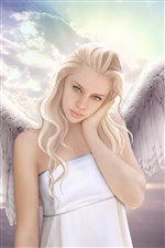 Fantasy angel girl, wings iPhone wallpaper