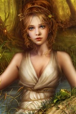 Fantasy blonde girl in the forest iPhone wallpaper