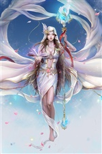 Fantasy white fairy girl iPhone wallpaper