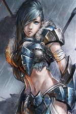 Female soldier in the rain, fantasy girl iPhone wallpaper