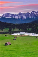Germany Bavaria landscape, mountains alps, grass, houses, lake iPhone wallpaper