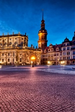 Germany, Dresden, Theatre Square, night lights iPhone Wallpaper