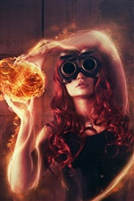 Girl holding a fire ball, creative pictures iPhone Wallpaper