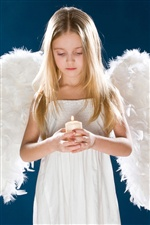 Girl, white angel wings, candle iPhone Wallpaper