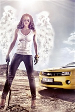 Girl with Chevrolet car iPhone wallpaper