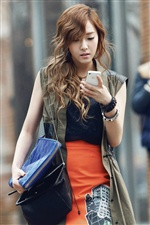Girls Generation, Jessica, use phone iPhone wallpaper