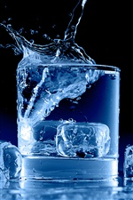 Glass cup, ice cubes, water splash, blue iPhone wallpaper