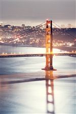 Golden Gate Bridge, San Francisco, night, lights iPhone wallpaper