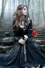 Gothic girl in the forest iPhone wallpaper
