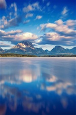 Grand Teton National Park, Jackson Lake, clouds, blue iPhone wallpaper