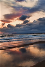 Greece, Crete Island, beach, sea, dusk, clouds iPhone wallpaper