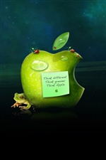 Green Apple with frog iPhone Wallpaper