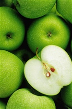 Green apple fruit close-up iPhone wallpaper