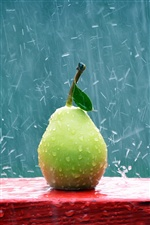 Green pear in the rain iPhone wallpaper