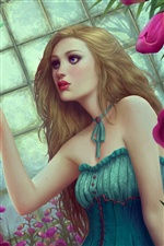 Green skirt fantasy girl iPhone wallpaper