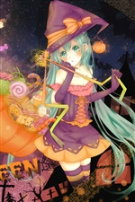 Halloween anime girl iPhone wallpaper