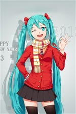 Hatsune Miku, blue hair girl, 2013 iPhone wallpaper