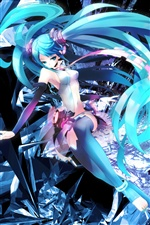 Hatsune anime girl blue hair iPhone wallpaper