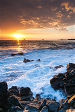 Hawaii ocean sunset, rocks, coast iPhone wallpaper