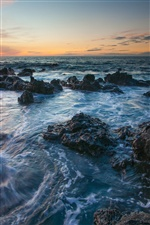 Hawaii scenery, coast, rocks, sunset iPhone wallpaper
