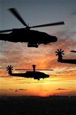 Helicopter flight at sunset iPhone wallpaper