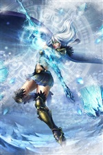 Holding a snow and ice sword fantasy girl iPhone wallpaper