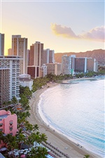 Honolulu, Waikiki Beach, houses, sunrise iPhone Wallpaper