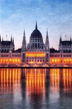 Hungary Budapest, Parliament building at night, lights, water reflection iPhone wallpaper