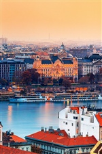 Hungary Budapest city at dusk, river, buildings, houses iPhone wallpaper