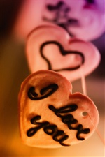 I love you, heart-shaped biscuits iPhone wallpaper