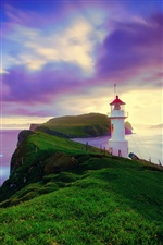 Iceland, Faroe Islands, lighthouse, purple sky, coast iPhone wallpaper
