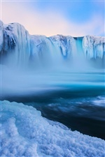 Iceland, Godafoss, beautiful waterfall, ice, blue iPhone wallpaper