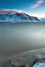 Iceland scenery, sea, snow-capped mountains iPhone wallpaper