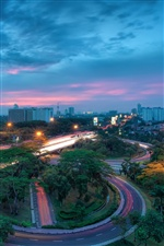 Indonesia, Jakarta city, buildings, night, road, lights iPhone wallpaper