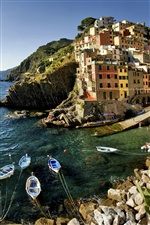 Italy, Riomaggiore, coast, houses iPhone wallpaper