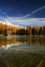 Italy nature, lake, mountains, reflection, trees iPhone wallpaper