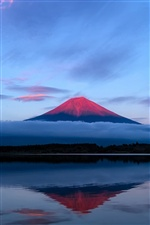 Japan Fuji mountain, evening, sky, lake reflection, blue iPhone wallpaper