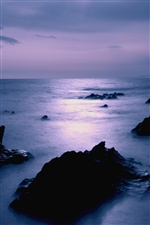 Japan sea coast dusk scenery, rocks iPhone wallpaper