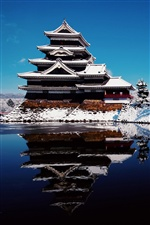Japan winter snow, temple, lake iPhone wallpaper